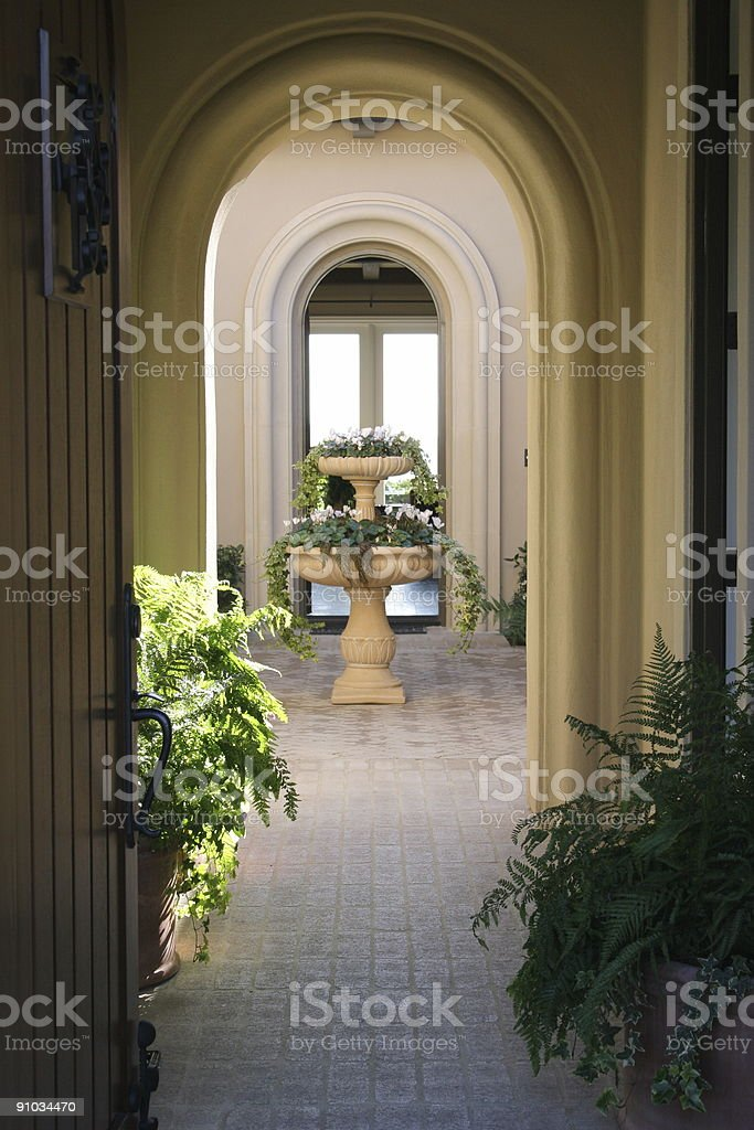 Walkway with fountain royalty-free stock photo