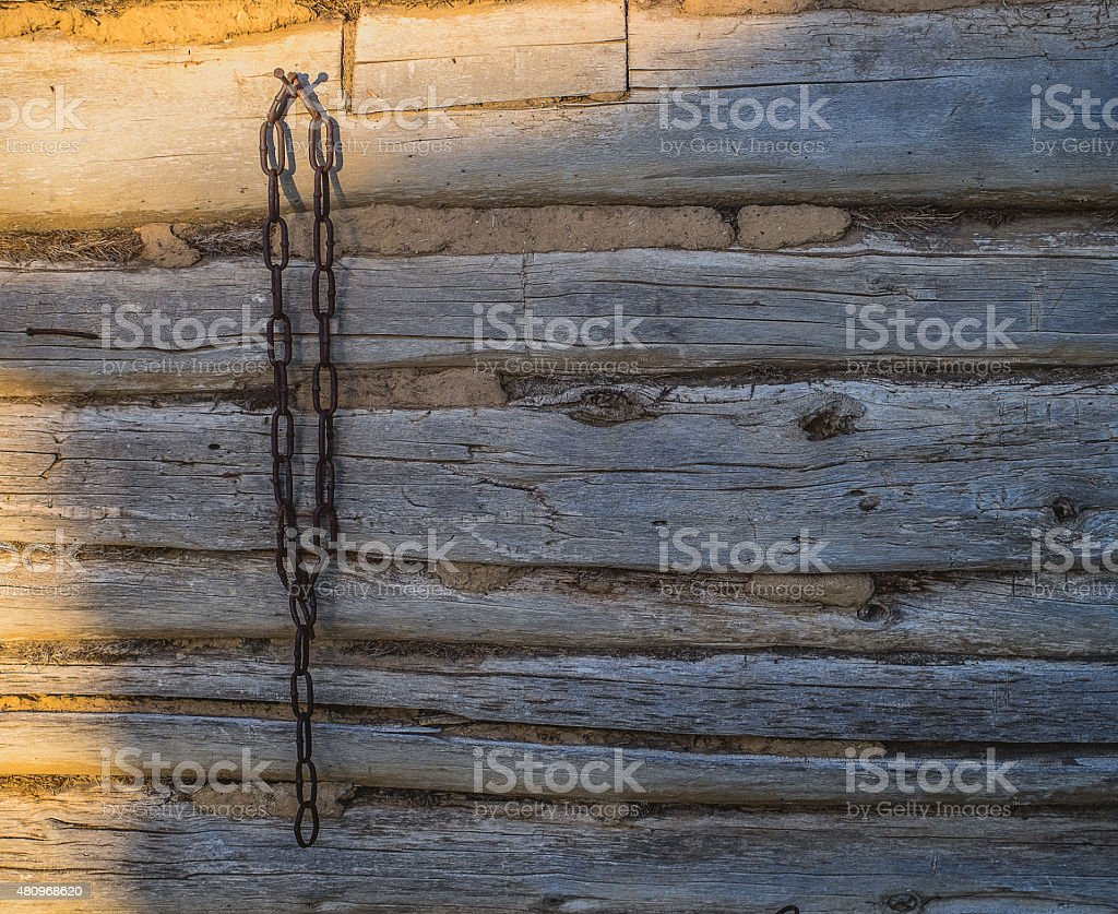 Wall and chain. stock photo