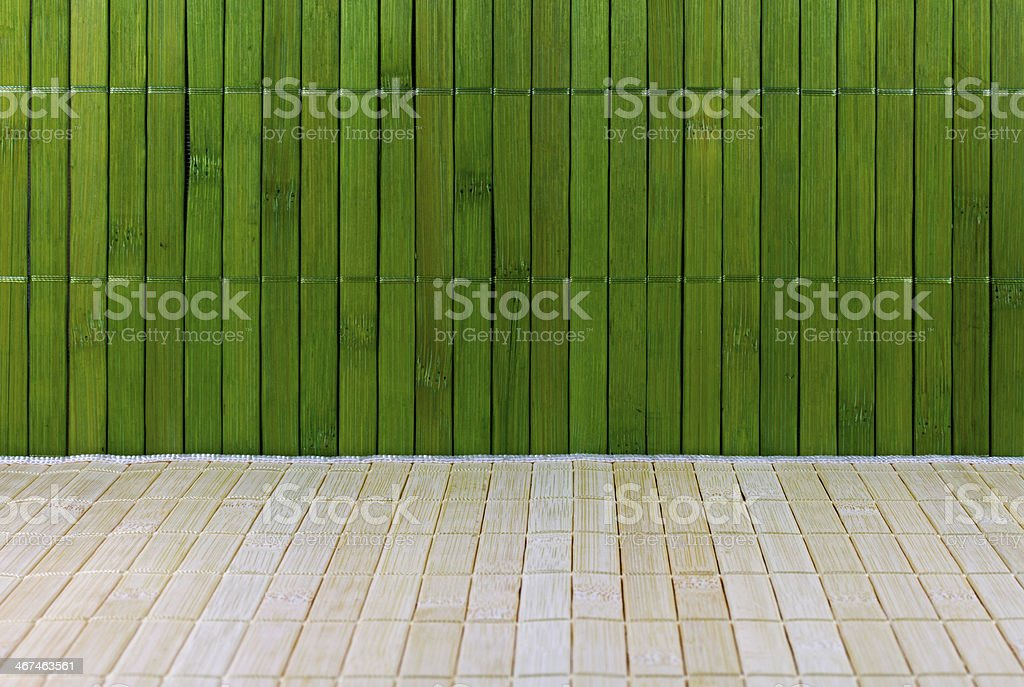 Wall and floor of a straw mat stock photo