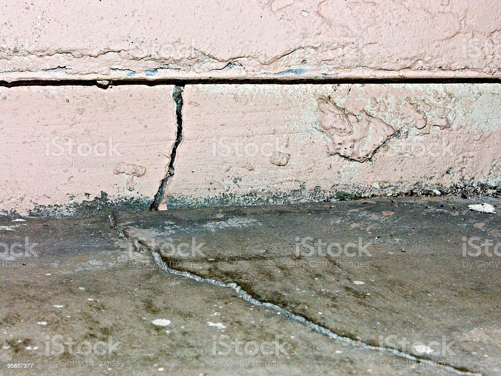 wall and foundation cracks stock photo