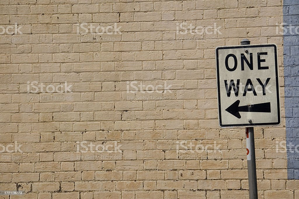 Wall and one way sign royalty-free stock photo