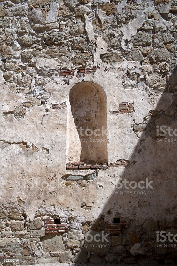 Wall and sconce, California Mission stock photo