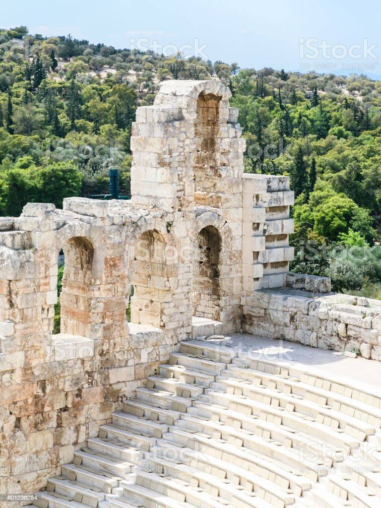 wall and seats in Odeon of Herodes Atticus stock photo