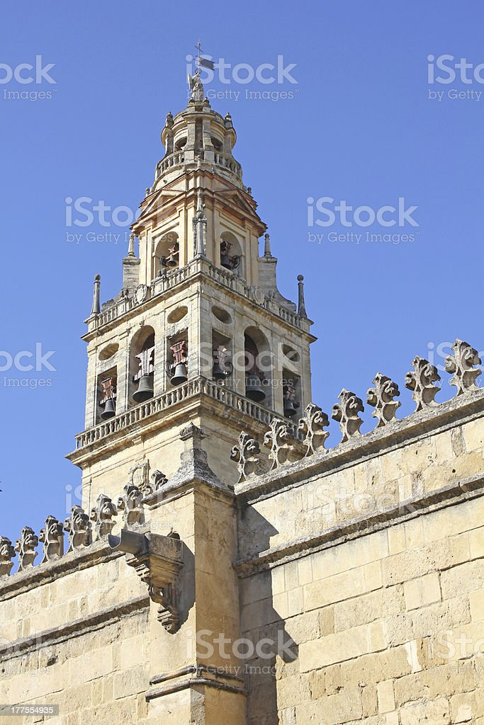 Wall and tower of the mosque in Cordoba stock photo