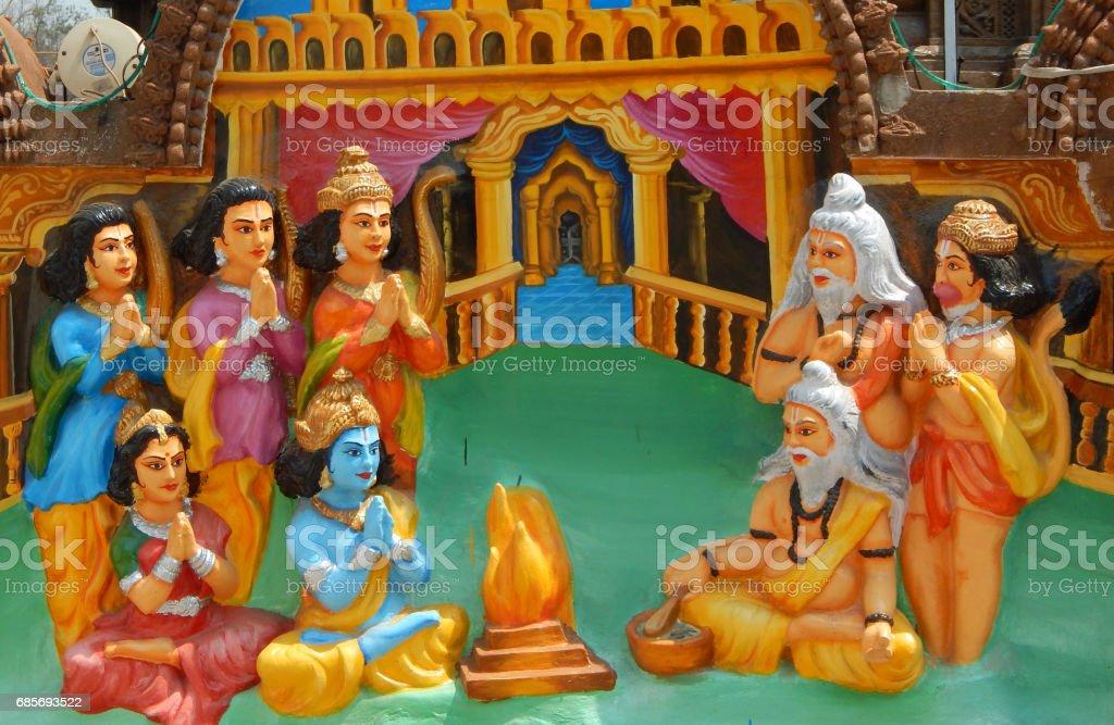 wall art of Hindu God sri ram perform yagam , for the welfare of kingdom, in Jagannath temple,Hyderabad,India stock photo