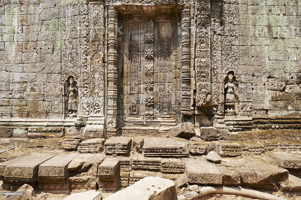 Wall at Ta Prohm Temple royalty-free stock photo