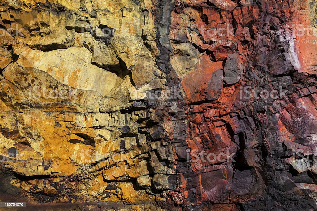 Wall at the bottom of dormant volcano in Iceland stock photo