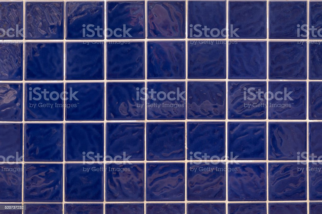 Wall blue square ceramic tiles stock photo