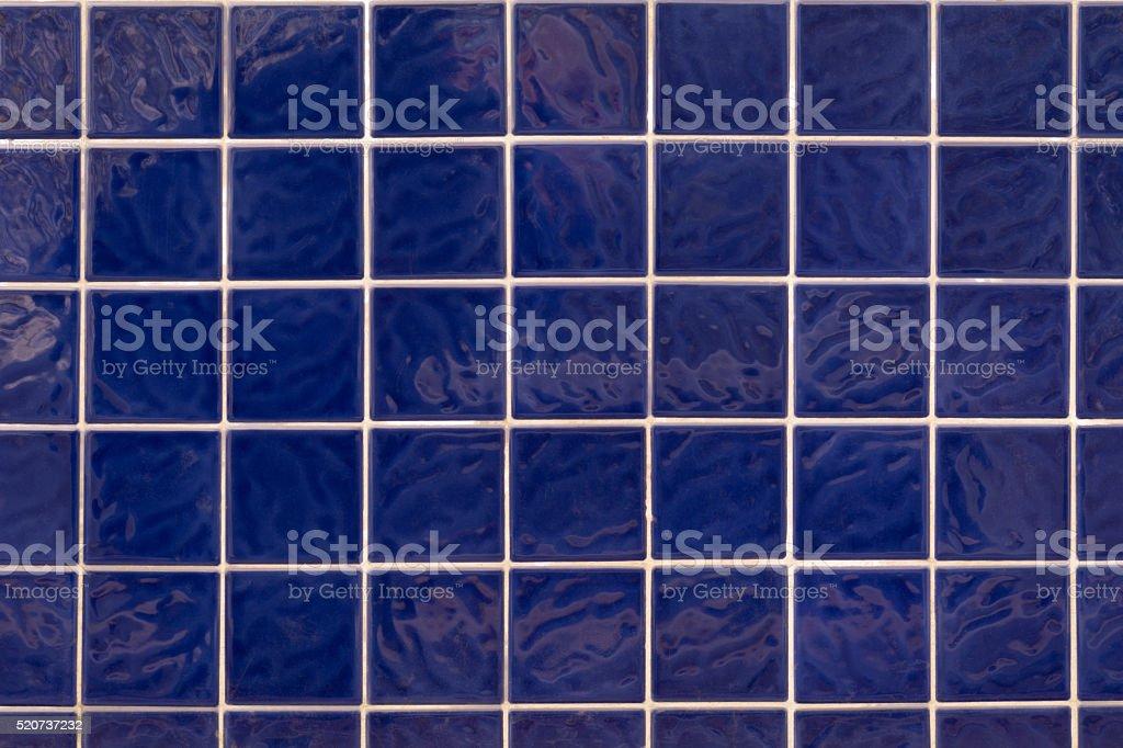 Wall blue square ceramic tiles stock photo