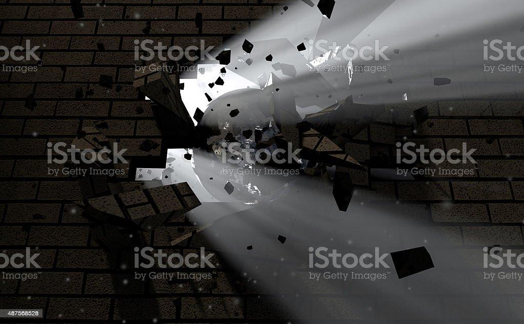 Wall Break Through And Light stock photo
