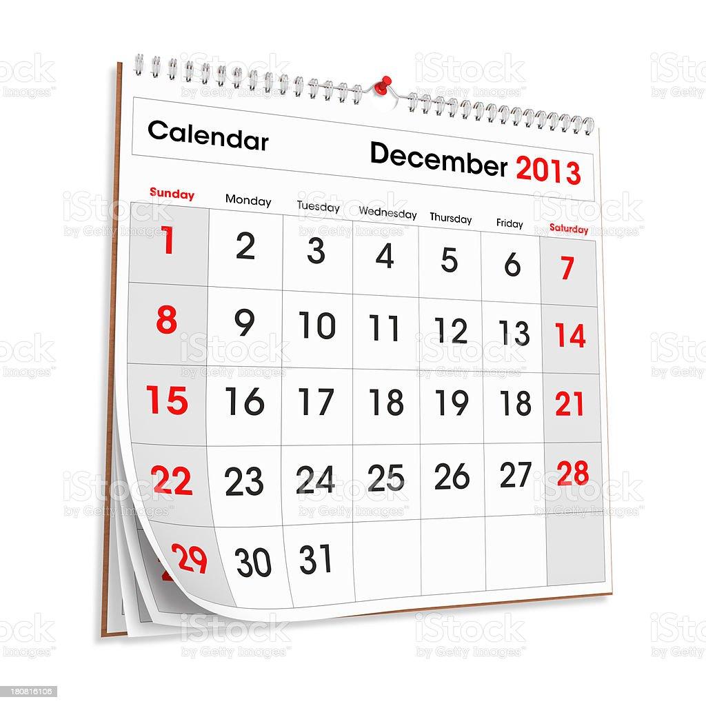Wall Calendar December 2013 stock photo