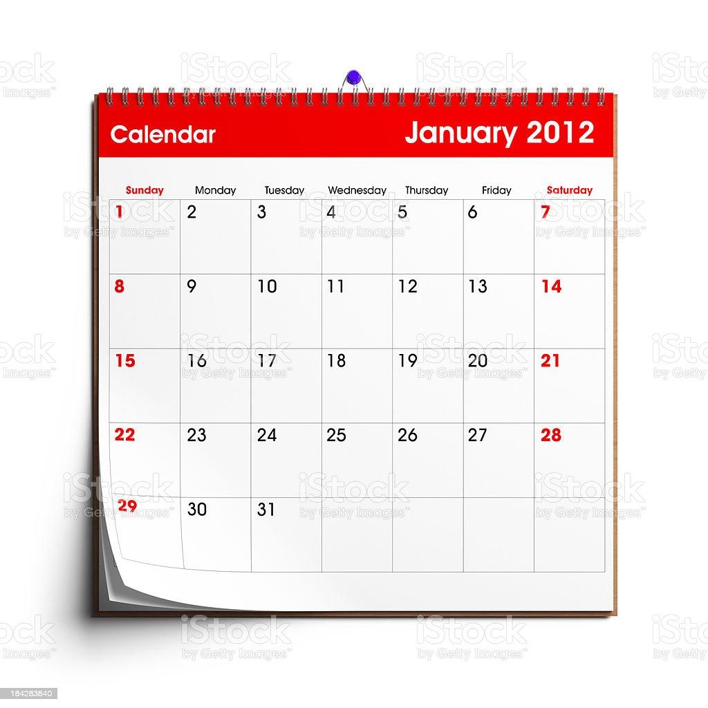 Wall Calendar January 2012 royalty-free stock photo