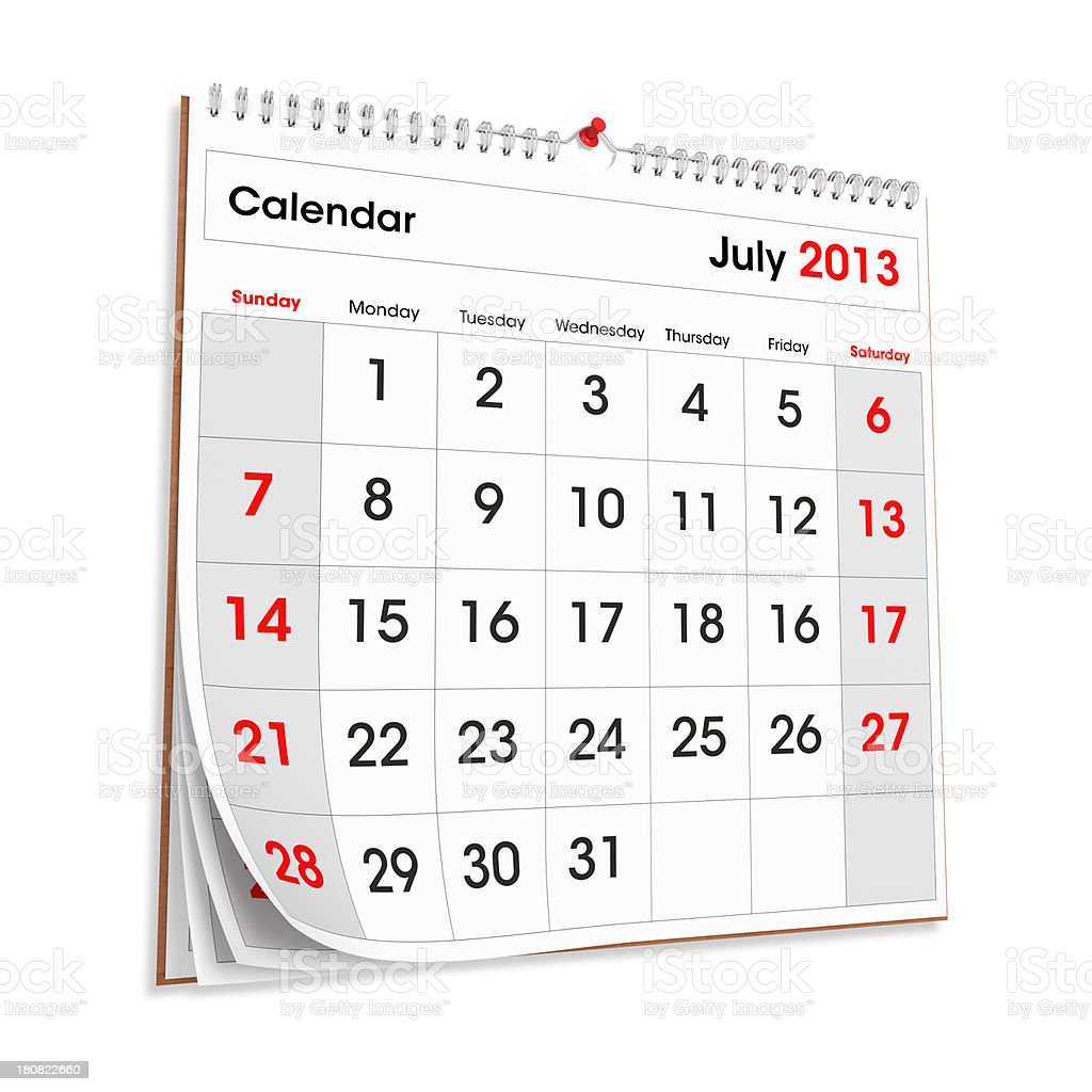 Wall Calendar JULY 2013 stock photo