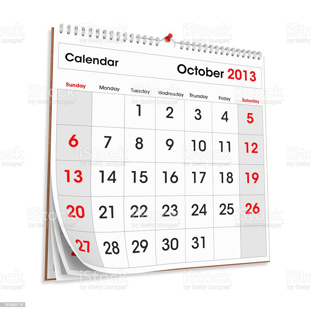 Wall Calendar October 2013 royalty-free stock photo