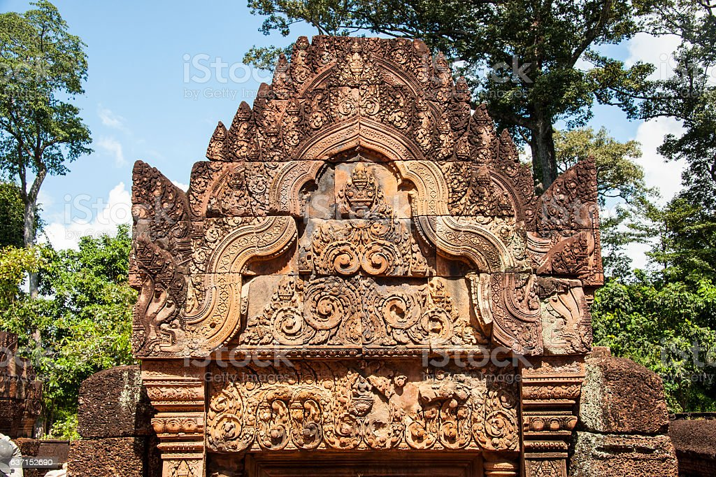 Wall carving Banteay Srei in Angkor. stock photo