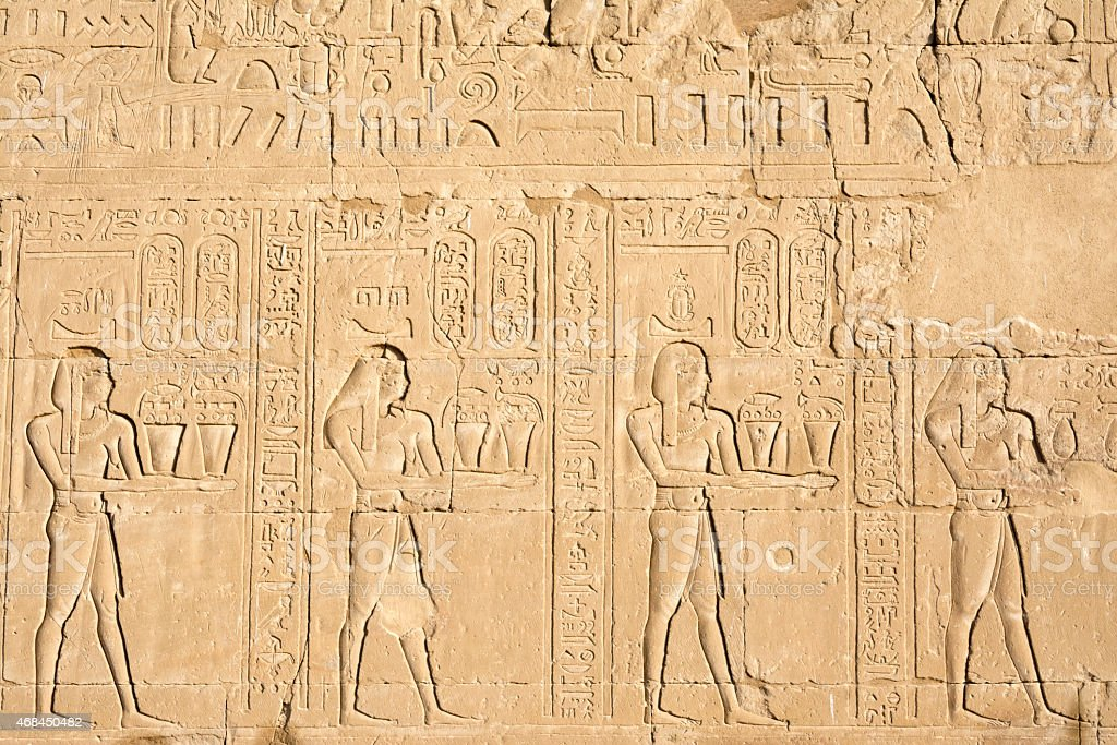 Wall carving, the temple of Edfu, Egypt stock photo