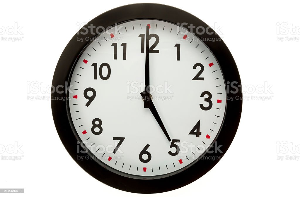 Wall clock - 5 o'clock stock photo