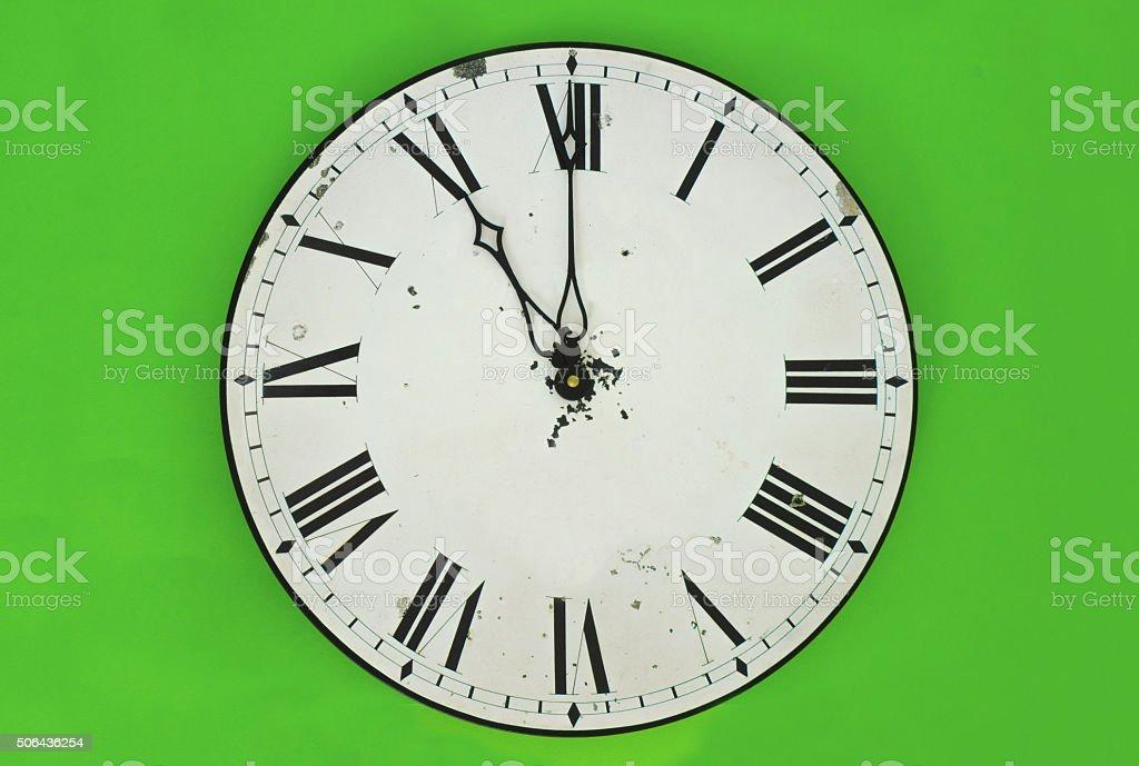 Wall clock at 11 o'clock stock photo