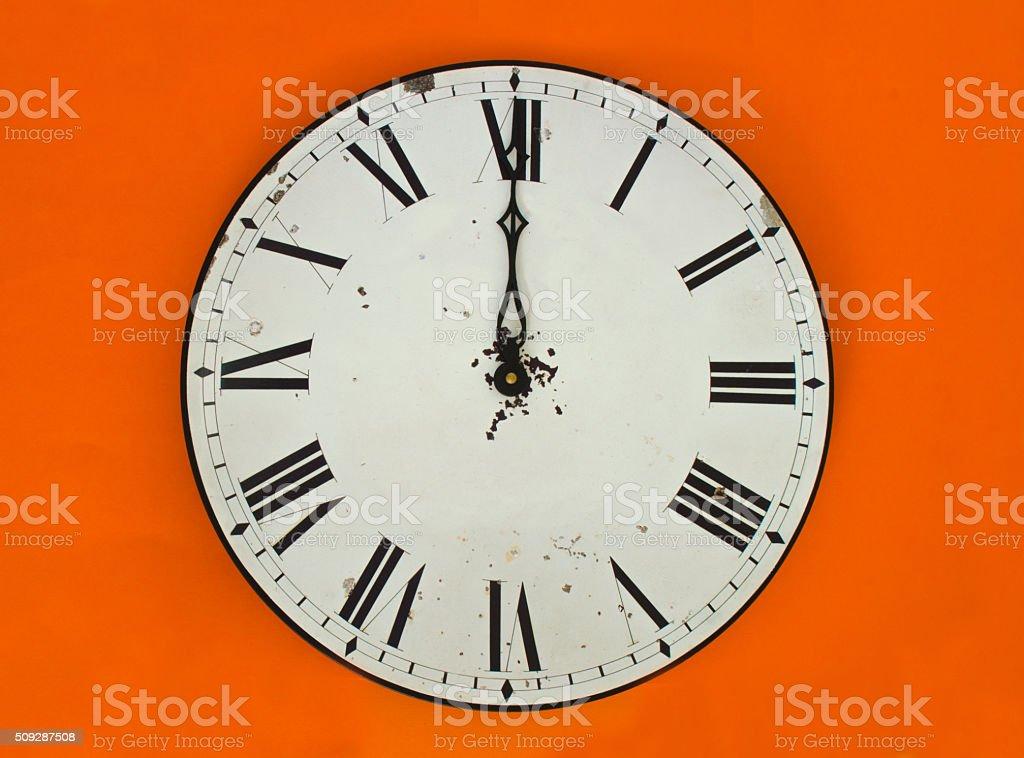 Wall clock at 12 o'clock stock photo