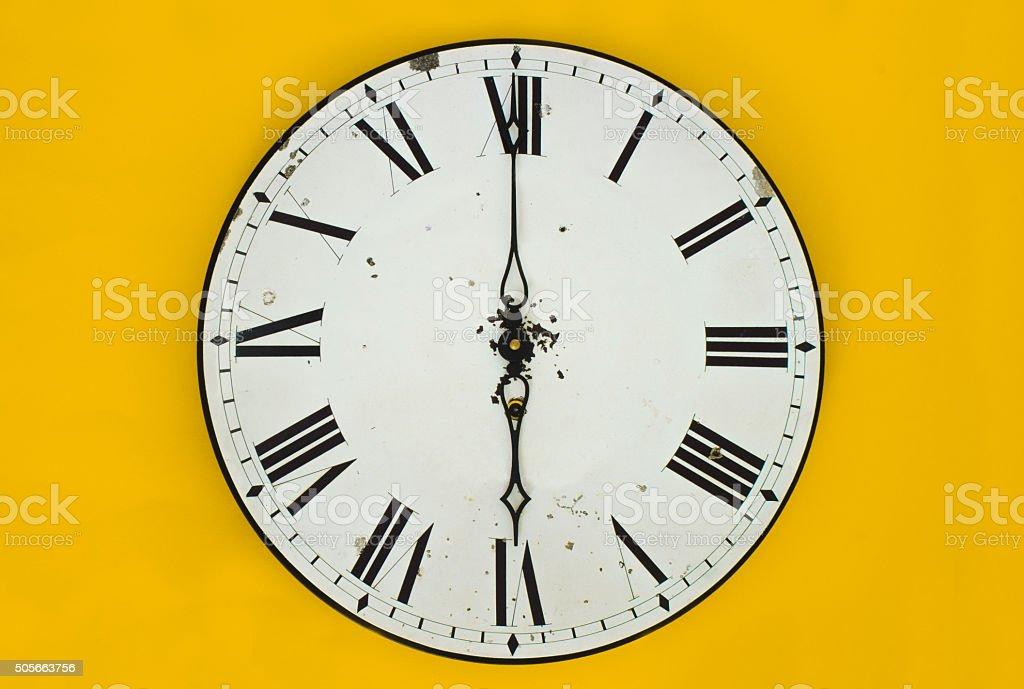 Wall clock at 6 o'clock stock photo