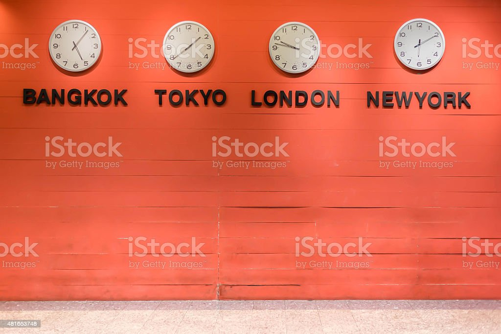 wall clock for to indicate world international time zone. stock photo