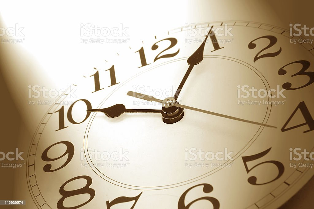wall clock in brown tone stock photo