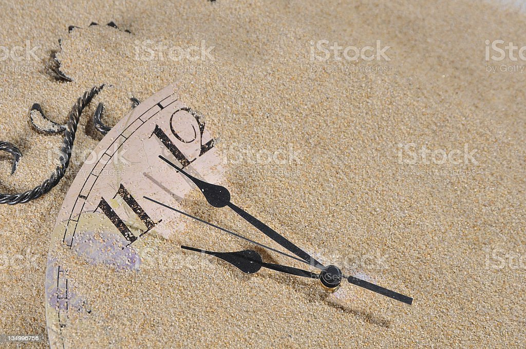 Wall Clock in the sand stock photo