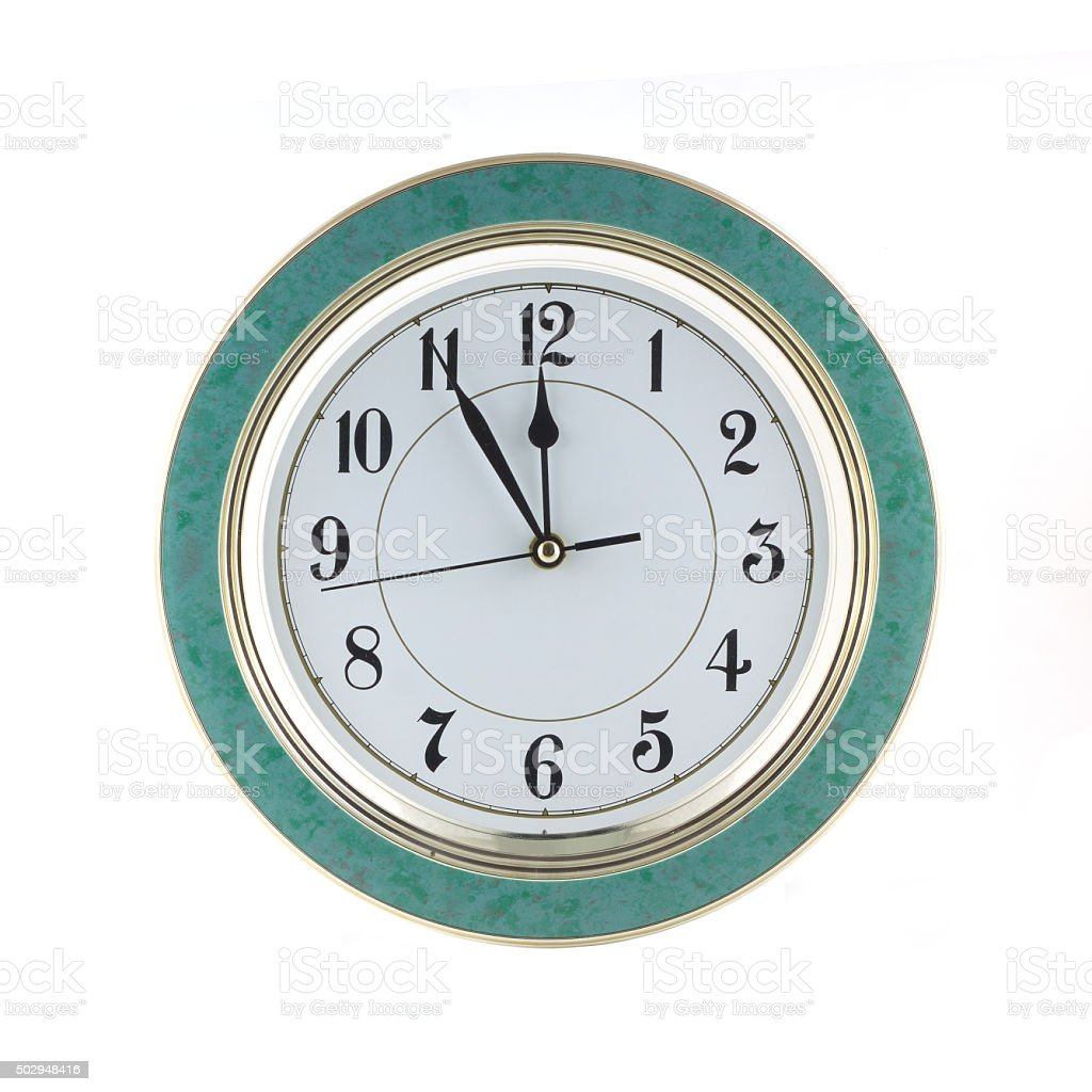 Wall clock isolated on white closeup stock photo