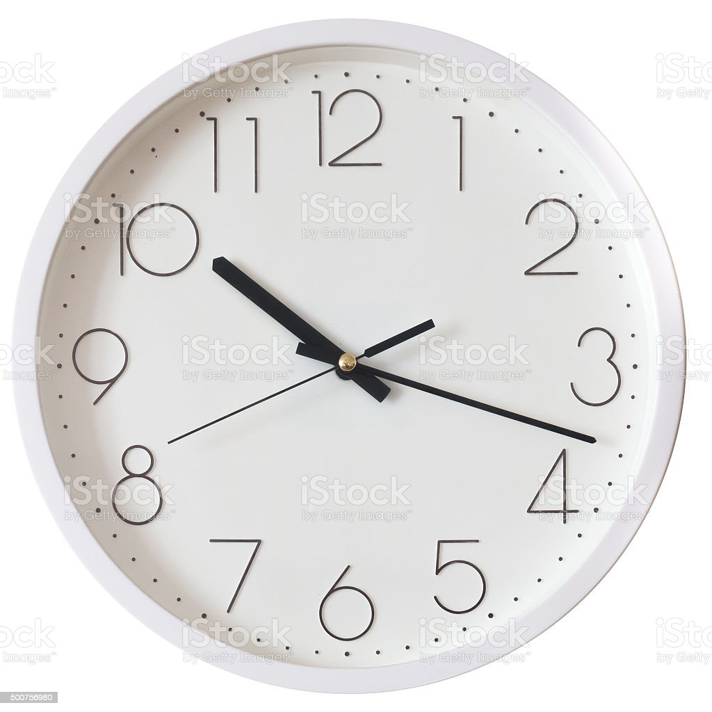 wall clock isolated on white stock photo