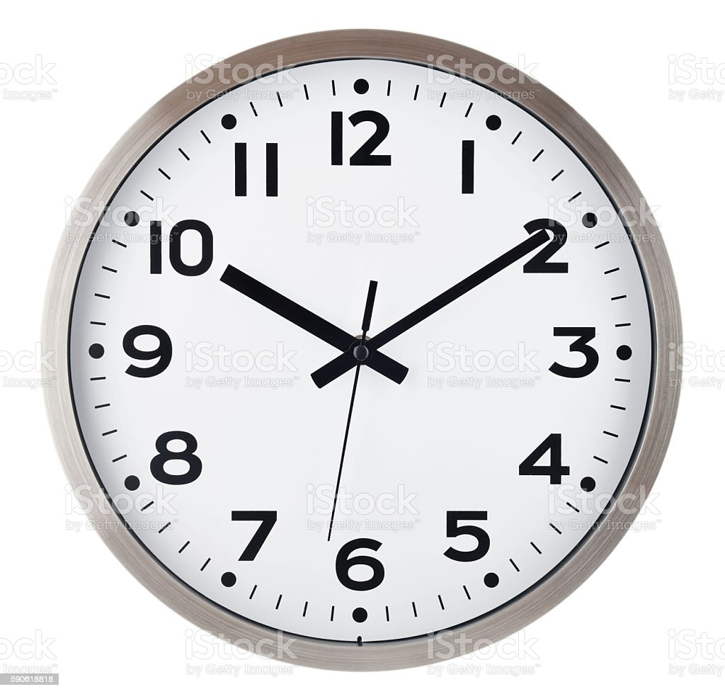 Wall clock isolated on white. Ten past ten. stock photo