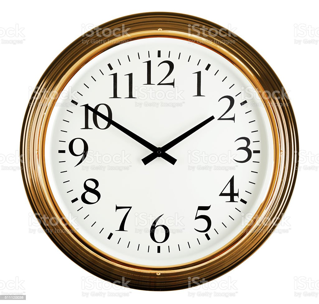 Wall clock isolated on white. Ten to two. stock photo