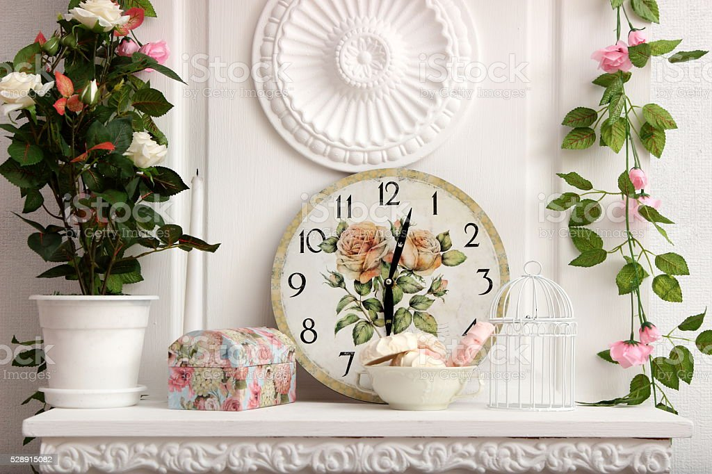 wall clock on vintage background stock photo