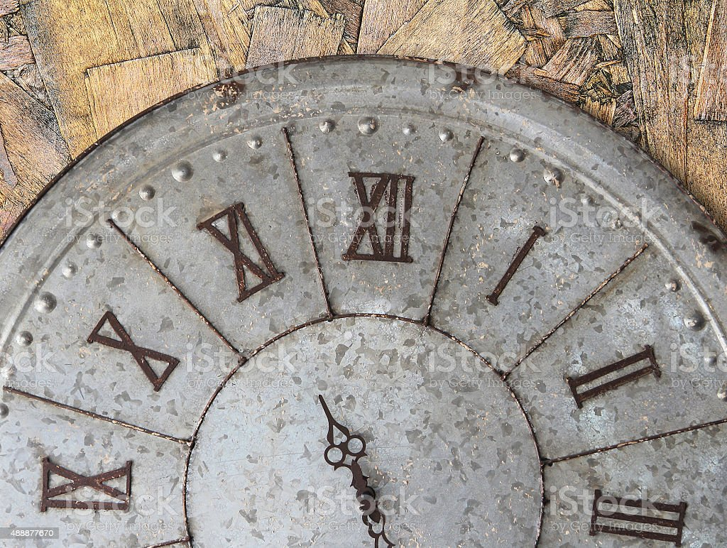 Wall clock on wooden wall stock photo