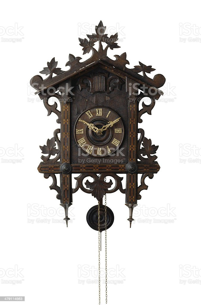 Wall clock with a cuckoo stock photo