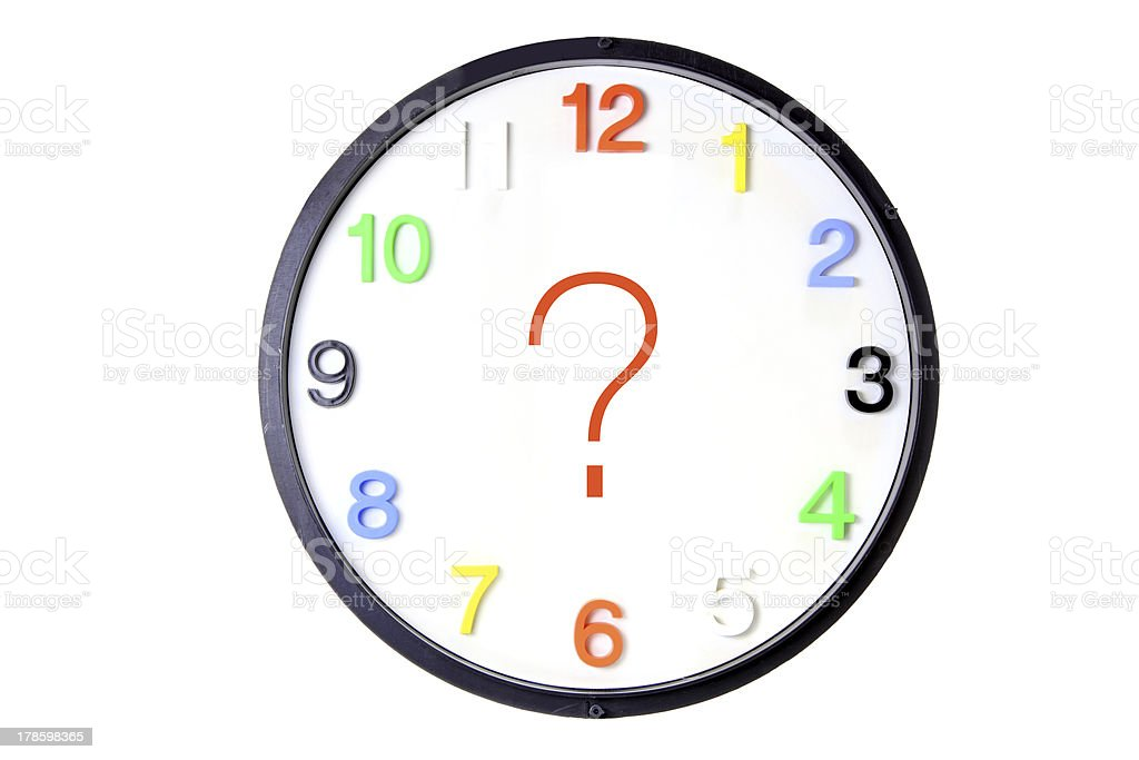 Wall Clock with Question Mark royalty-free stock photo