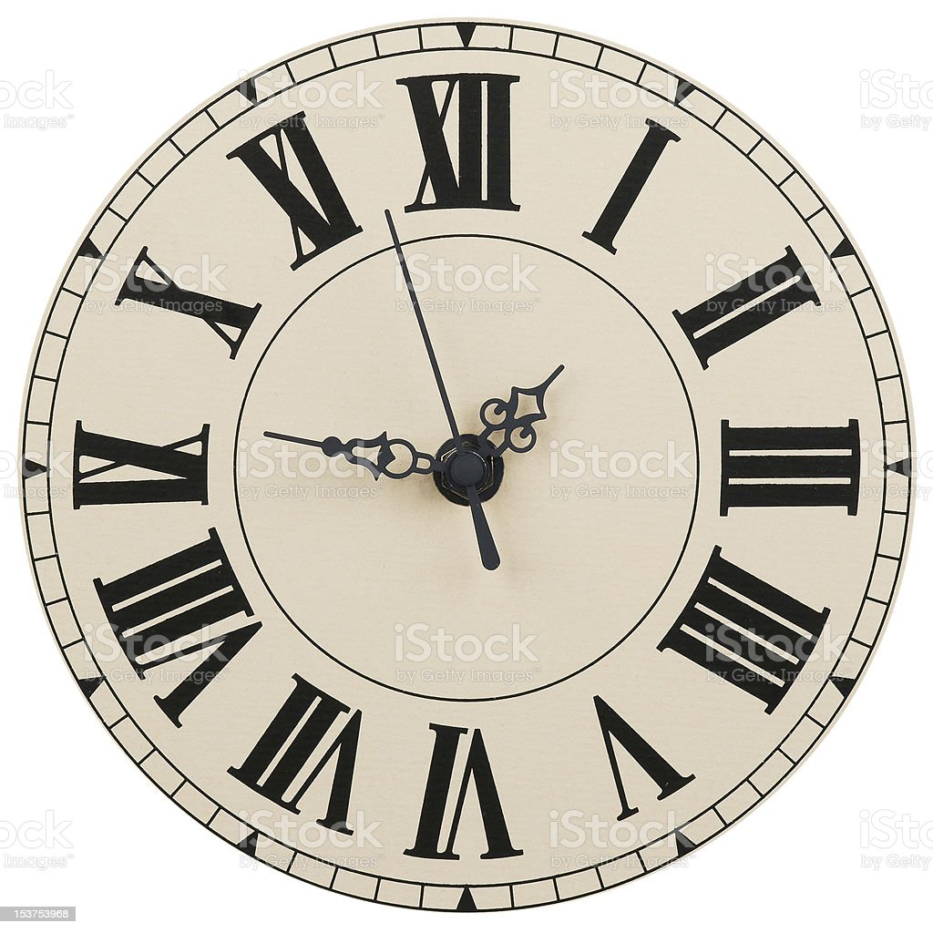 Wall clock with the Roman figures stock photo