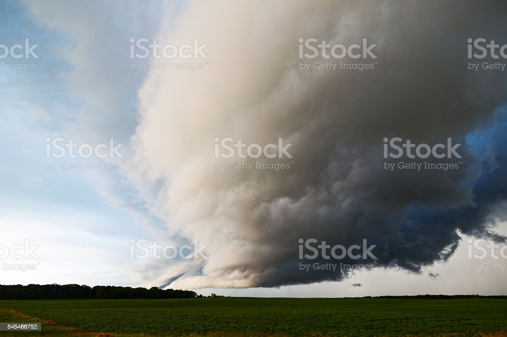 Wall Cloud over a Soybean Field stock photo