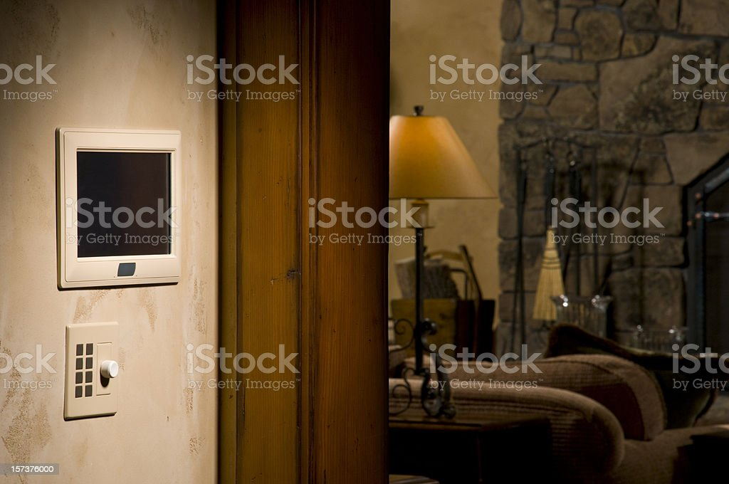 Wall control panel for a home stock photo