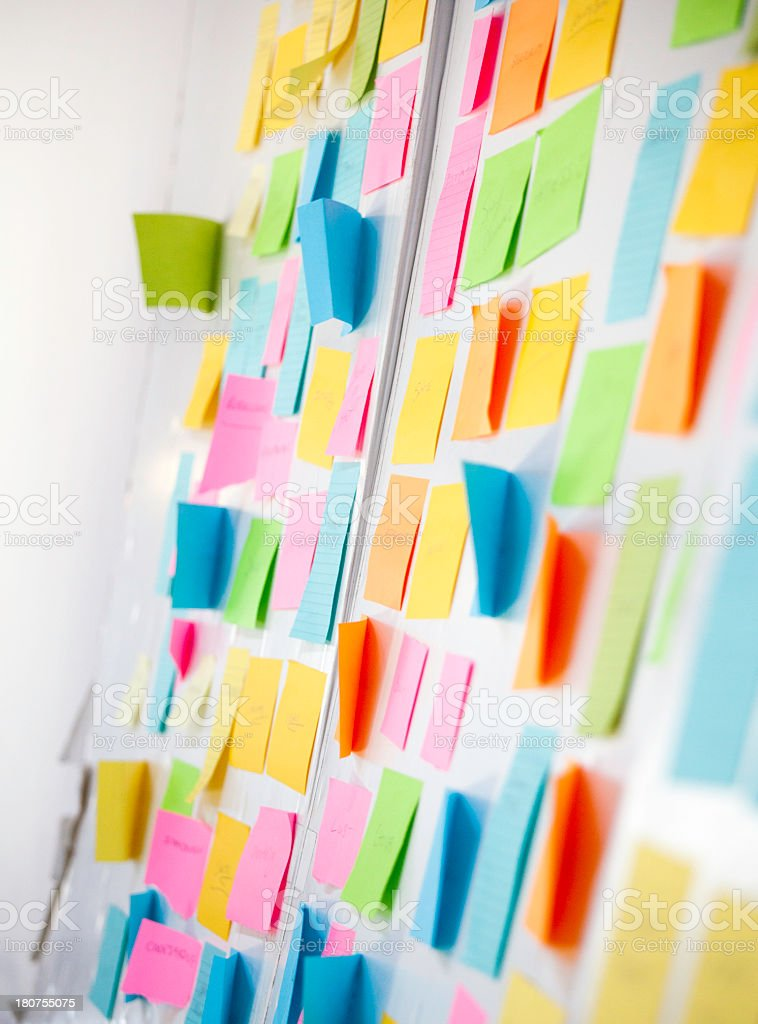 Wall covered with sticky notes royalty-free stock photo