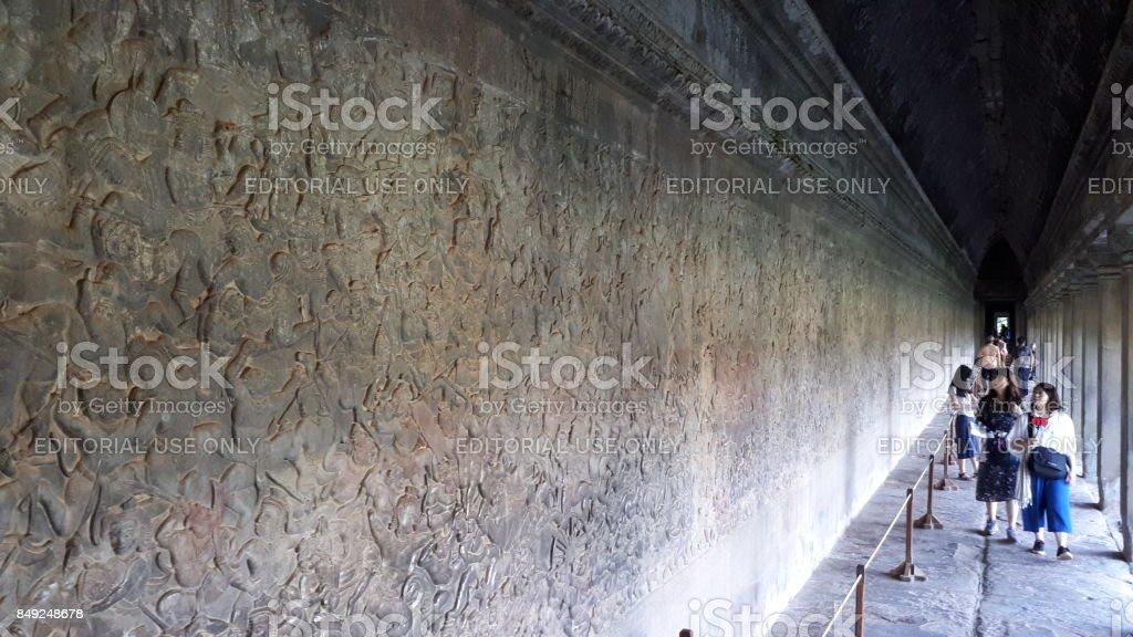 Wall craft at Angkor Wat stock photo