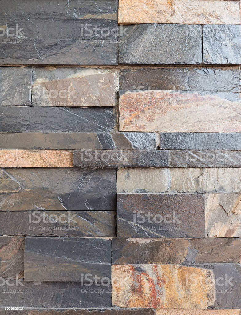 wall decorate with rock stock photo