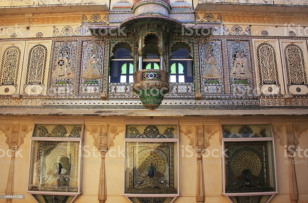 Wall decoration of Peacock Square, City Palace complex, Udaipur, royalty-free stock photo