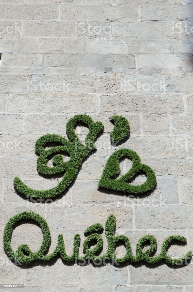 Wall Decoration saying 'I love Quebec' stock photo