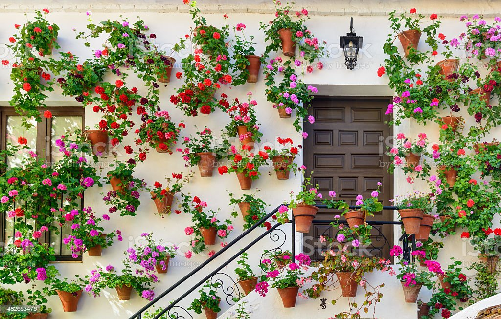 Wall decorations of flowers in Cordoba stock photo