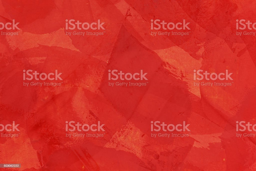 Wandgestaltung mit roter Spachtelmasse stock photo