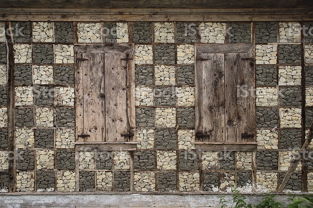 wall detail of north anatolian house stock photo
