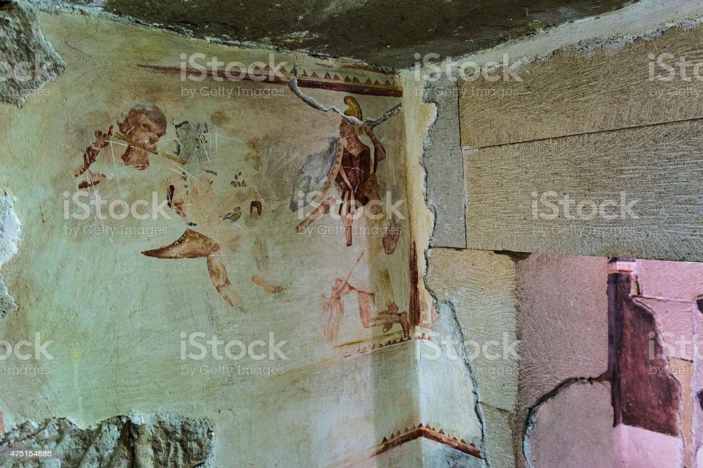 Wall drawing in Thracian tomb stock photo