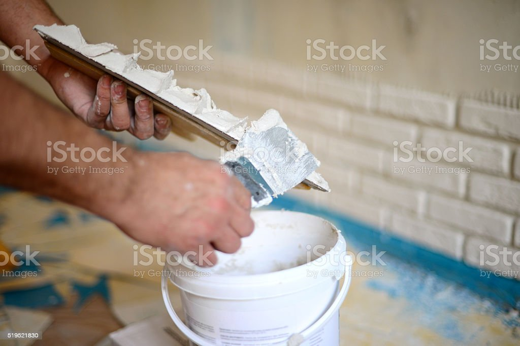 wall facing work with brick stock photo