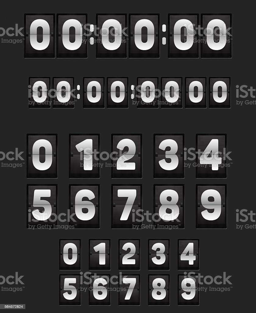 Wall flipping clock and set of numbers. stock photo