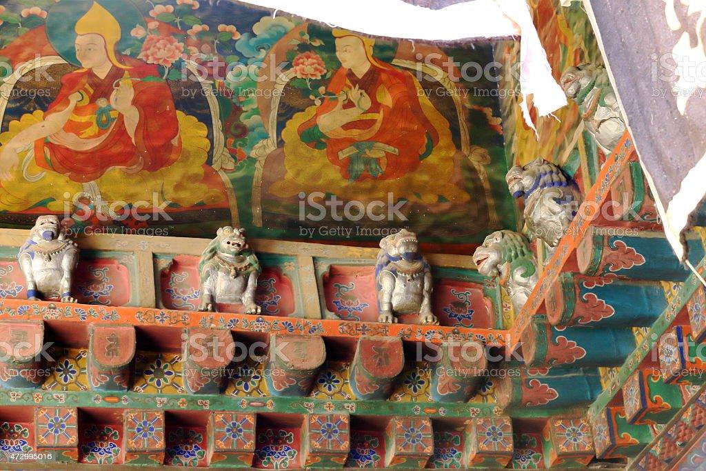 Wall frescoes-snow lions. Jokhang temple-Lhasa-Tibet. 1417 stock photo